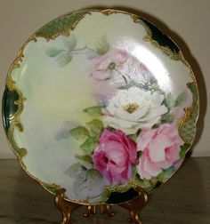 Haviland Limoges Cabinet Display Plate Handpainted Roses Jewels Artist Signed MM