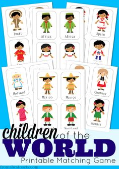 Exploring world cultures with your child allows them to build an appreciation for the world around them and the people in it.  This free  printable Children of the World matching game is a great place to start!