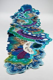 """Katharina Krenkel: """"WASSER"""", EIN ALTARTUCH crochet alter cloth- love colors, textures-hooking idea You are in the right place about clothes for teens Here we offer you the most beautiful pictures abou Freeform Crochet, Irish Crochet, Crochet Motif, Crochet Flowers, Free Crochet, Crochet Wall Art, Knit Art, Knitting Patterns, Crochet Patterns"""