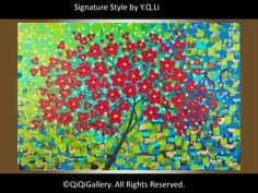 landscape Painting Impasto Palette Knife Flower by QiQiGallery, $245.00