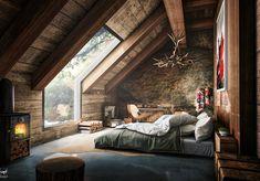 Finest Rustic Italian Home Decor Ideas Attic Bedroom Decor, Attic Bedrooms, Bedroom Loft, Bedroom Furniture, Wooden Bedroom, Bedroom Ideas, Skylight Bedroom, Bedroom Wall, Male Bedroom