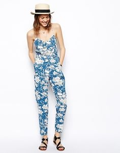 Image 4 ofASOS Strappy Jumpsuit In Large Floral Print