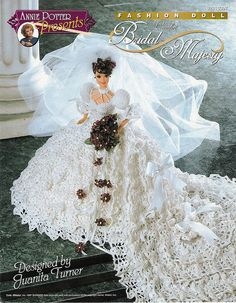 Image detail for -Bridal Majesty Dress for Barbie Annie's Crochet Pattern Leaflet RARE is it included please Barbie Bridal, Barbie Wedding Dress, Barbie Gowns, Barbie Dress, Doll Dresses, Crochet Doll Dress, Crochet Barbie Clothes, Crochet Doll Pattern, Crochet Patterns