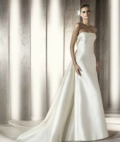 Satin Strapless Straight Neckline Pleated Bust A-Line Wedding Dress  $298.00