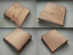 Kožený zápisník - originálny denník, hladenica, ručná práca / handmade book / bookbinding / long stitch / leather journal / notebook / diary / fotoalbum / house / pyrography