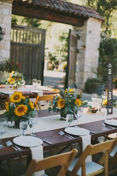 Chic Event Rentals sunflower wedding ideas   VIA #WEDDINGPINS.NET