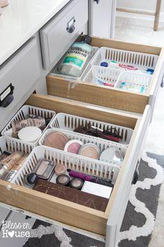 Bathroom Drawer Organization with Plastic Baskets