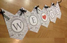 Items similar to WE DO - Chevron Banner on Etsy Chevron Banner, Engagement Celebration, How To Make Ribbon, Circle Shape, Shape Patterns, Wedding Bells, Shapes, Lettering, Holiday Decor