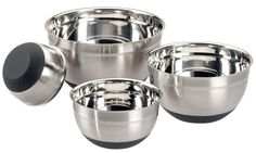 ChefLand Mixing Bowl with Non-Slip Silicone Base, 1-1/2, 3, 5 and 8-Quart, Stainless Steel, Set of 4 >> Unbelievable product is here! : Baking mixing bowls