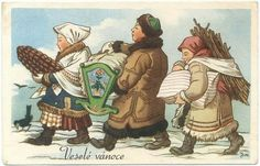 We were browsing online for vintage and old Czech Christmas cards and postcards from then called Czechoslovakia (now the Czech Republic) and we found so many that we decided to share the best ones here with you. Vintage Christmas Cards, Christmas Carol, Holiday Cards, Christmas Postcards, Lets Celebrate, Vintage Children, Gifts For Kids, Illustrators, History