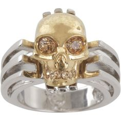 Alexander McQueen Silver Art Deco Skull Ring ($345) ❤ liked on Polyvore