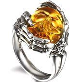 Remember Forever - Ring of Citrine Carved Gemstone Crystal Skull in Sterling Silver Skeletal Hands