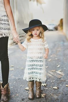 Cutest little outfit. Lace little girl dress with jeans