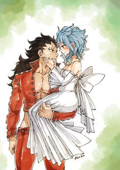 Gajeel and Levy dressed as Ban and Elaine Fairy Tail x Nanatsu no Taizai, I love This crossover it just connect two of the best couples *___* Fairy Tail Levy, Fairy Tail Ships, Anime Fairy Tail, Fairytail, Gruvia, Fairy Tail Couples, Gajeel Und Levy, Ban E Elaine, Vocaloid