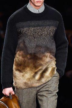 Fendi F/W 2015 Menswear Milan Fashion Week Knit Fashion, Fashion Week, Mens Fashion, Fashion Trends, Milan Fashion, Fashion Styles, Fendi, Fashion Details, Fashion Design