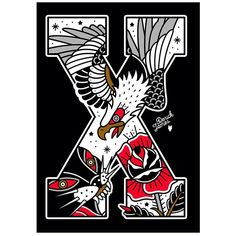 #straightedge #tattoo #design #traditional #sxe #tattoos #illustration #xxx #print #derickjames #oldschool #sxetattoo #panther #eagle #rose