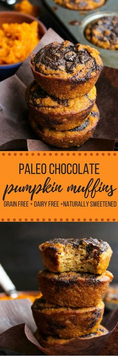 Paleo recipes - Paleo Pumpkin Muffins with a Chocolate Swirl Top - a simple, one bowl recipe perfect for the perfect fall treat Chocolate Pumpkin Muffins, Paleo Pumpkin Muffins, Paleo Chocolate, Chocolate Swirl, Chocolate Meringue, Paleo Pumpkin Recipes, Pumpkin Coffee Cakes, Dairy Free Recipes, Real Food Recipes