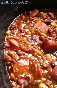 South Your Mouth: Three Meat Crock Pot Cowboy Beans