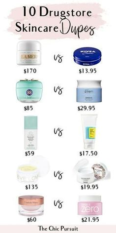 10 Skincare Dupes For The Most Popular Skincare Items in 2019 The best affordable skincare dupes in including Tatcha Water Cream dupes, La Mer dupes, a Fresh Soy Face Cleanser dupe, Drunk Elephant dupes and more! Drugstore Skincare, Best Skincare Products, Beauty Products, Skincare Routine, Makeup Products, Elf Products, Anti Aging Skin Care, Natural Skin Care, Natural Beauty