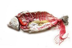 poisson by Sabine Feliciano Art Fibres Textiles, Textile Fiber Art, Textile Artists, Sculpture Textile, Soft Sculpture, Anatomy Art, Hippie Art, Fish Art, Embroidery Art