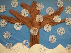 Winter bulletin board preschool/elementary. Coffee filter snow flakes with glitter.