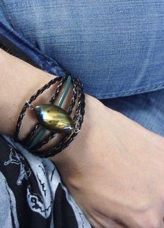 Kup mój przedmiot na #vintedpl http://www.vinted.pl/akcesoria/bizuteria/15590767-bransoletka-z-labradorytem-rzemyki-czarna-brasoleta