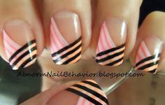 Neon-black-and-white-line-french-tips