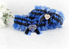 Thin Blue Line Police Garter Set - Police Bridal Garter Set - Something Blue - Arrested My Heart