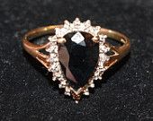 Vintage - 9ct Gold Sapphire and Diamond Ring - England - c1980 - UK X   US 11 5/8