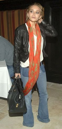 Cropped leather jacket, bells, big black bag, plain white tee, and a scarf! Boom!