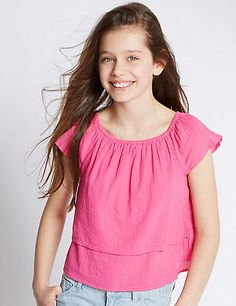 Pure Cotton Cheesecloth Layered Top (5-14 Years)