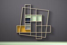 Oblique bookshelves, Hugues Weill, Frisco, Drugeot Labo