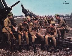 Romanian People's Army artillerymen taking a break before the exercise starts.