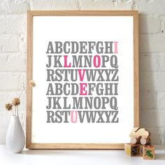8x10 ABC Print. I love you. Alphabet Love. Typography Print. Gray and rose pink.