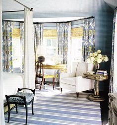 blue & yellow bedroom colors  striped blue white rug, blue yellow polka dot bench with ...
