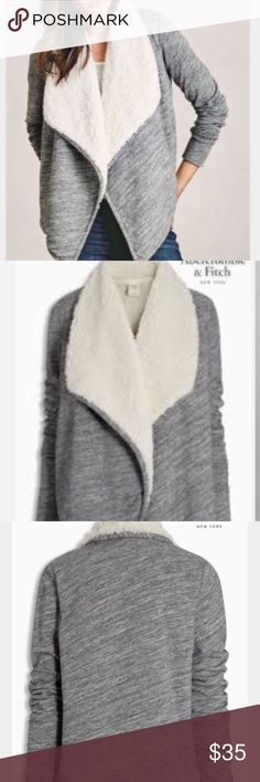 Abercrombie &fitch Sherpa cardigan New with out tags. Abercrombie & Fitch grey and white warm and cozy Sherpa cardigan. comfortable with a draped front design, ribbed trim, sherpa fleece lining, shawl collar, Abercrombie & Fitch Sweaters Cardigans