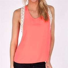 Moa Moa Juniors Open Back Tank with Lace Trim