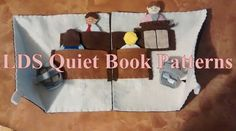 This is a 100% original handmade pattern for Sacrament Meeting quiet book pages. The pattern comes with detailed step by step instructions with pictures and is designed to be made on felt. Final size: 2 pages of 9 inch x 9 inch each. Basic hand stitching skills required to make this quiet book page.  I designed this page as a way to get children engaged and enthusiastic about learning the events that take place during the sacrament meeting (talks, prayer, sacrament, etc).  Motor skills…