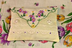 lavender sachet made with a vintage hankie.