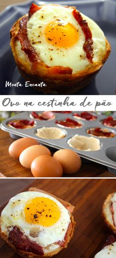 Em apenas 10 minutos você passa a manteiga nas fatias de pão, encaixa o bacon, quebra os ovos sobre e leva ao forno. Egg Recipes, Gourmet Recipes, Low Carb Recipes, Cooking Recipes, Healthy Recipes, Food Porn, Gourmet Breakfast, Portuguese Recipes, Easy Cooking