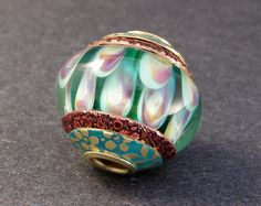 Turquoise and Magenta Big Hole Glass Lampwork by PeggySudzLampwork, $36.00
