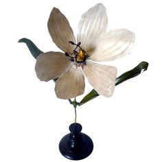 1stdibs | Botanic Model For Class, Enameled Copper, Depicting A White Tulip Flower.