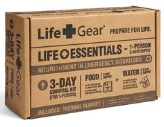 Boxed.com : Life+Gear Life Essentials Supply Kit 3 Day Supply - Food, Water & Blanket