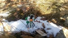 Travelbug Penguin visits snowy place. #Geocaching