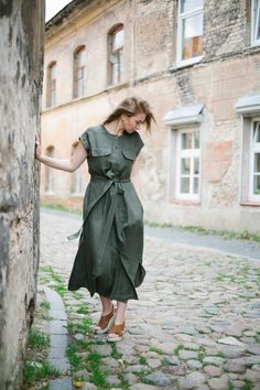 Linen dress, Khaki summer dress for woman, Long woman dress, Dress with pockets, Short sleeved dress by IngridShopLT on Etsy