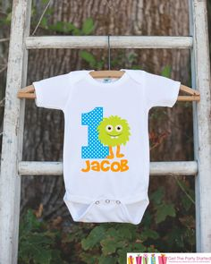 Monster Outfit - Personalized Bodysuit For Boy's 1st Birthday Party - First Birthday Little Monster Bodysuit Birthday Outfit With Name & Age
