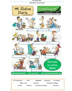 Mi rutina diaria. Daily rountine in Spanish. #Spanish worksheets