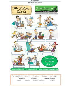 Mi rutina diaria. Daily rountine in Spanish. #Spanish worksheets