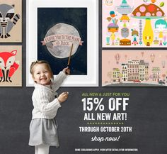 It's NEW ART time, once again! And right now, enjoy Oopsy Daisy's 15% Off New Art Sale thru 10/20. Save on Kids Canvas Art, Personalized Growth Charts, Framed Art Prints, Wall Murals, and more!