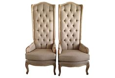 1950s High-Back Tufted  Chairs, Pair on OneKingsLane.com